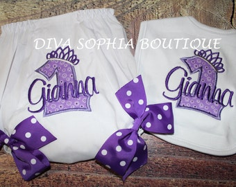 Personalized Purple Birthdayt Bloomer with Bows and Bib Set - Personalized Diaper Cover - Birthday