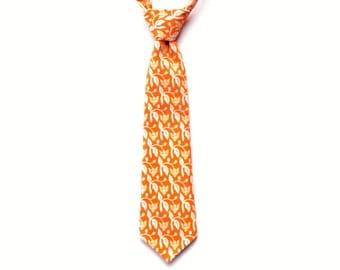Orange Boys Tie - Thistle Toddler Tie - Boys Orange Necktie - Floral Toddler Necktie - Hook and Slider Closure
