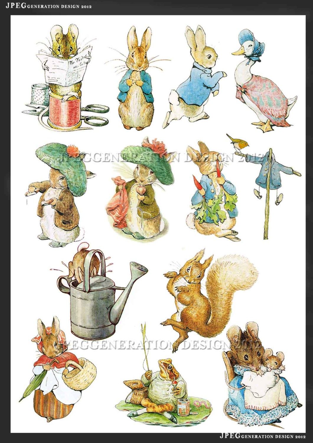 Peter Rabbit Digital Collage Sheets Cupcake Toppers