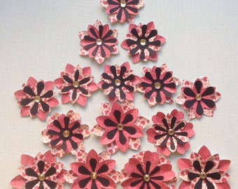 Pretty Layered Die Cut Cardstock/Flowers - Shades of Coral