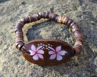 Wooden Coconut Pink Orchid Flower Bracelet - Organic Beach Festival Surf Ethnic World Asian Tribal Tribe Alternative Gap Year