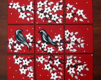 "art, 2 birds, painting, birds, cherry blossom, red, white, black, homewares, , abstract art, blossom, bird, tree, trees, small, 12"" x 12"""
