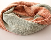 Handwoven Scarf - Two Toned Orange and Mint Green Handwoven Bamboo Scarf