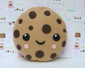 Cookie Pillow, Chocolate Chip Cookie, Home Decor, Felt, Machine Washable Toy