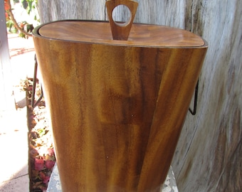 Mid Century Modern Teak Ice Bucket with tongs marked ktnc