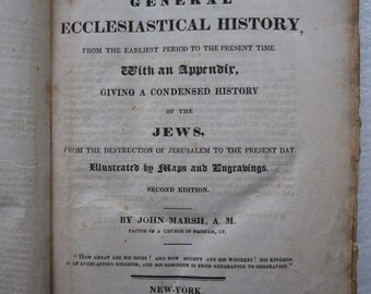 An Epitome of General Ecclesiastical History by John Marsh 1828 Book