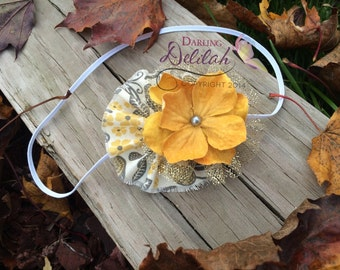 Here Comes The Sun Headband, Mustard Yellow and Grey Headband, Girls Photoprop, Adult Headband, Baby Headband