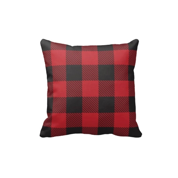 Throw Pillow Cover And Insert : Black and Red Buffalo Check Pillow Cover & Insert Plaid