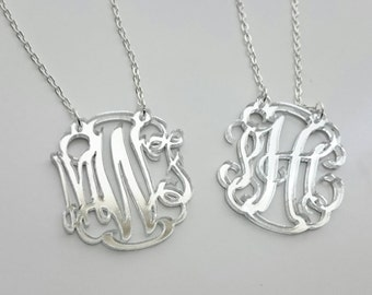 Gold or Silver Mirror Monogram Acrylic Cutout Necklace - with gift box
