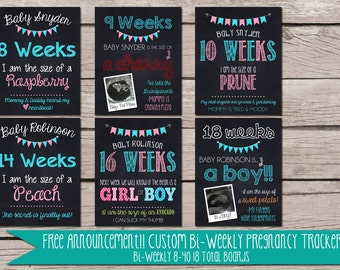 BI-WEEKLY Custom Pregnancy Baby Countdown Tracker FREE Announcement Chalkboard Poster. Digital Download 4 sizes..Photo Prop Expecting Sign.