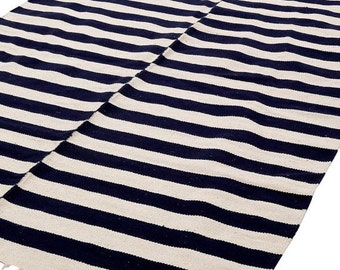 Sale Nautical Area Rug Navy Ivory Cotton Handwoven Flat
