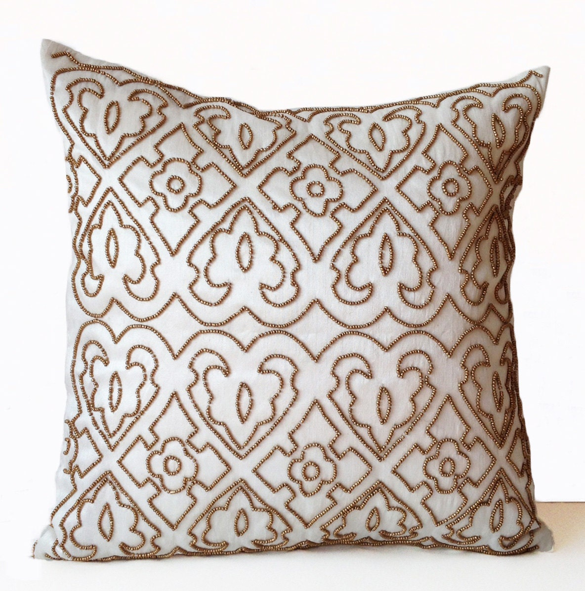 Ivory Decorative Throw Pillow Case Gold Beads Designer Pillow