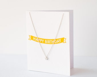 Birthday Gift, Delicate silver star necklace on gift card