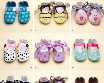 Simplicity 2491 Baby Shoe Sewing Pattern Size XS, S, M, and L