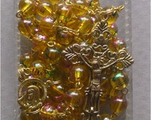 Gold - Sorrowful Mother - 8mm Yellow Glass Rosary