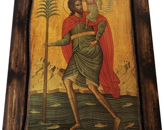 Saint St. Christopher - Orthodox Byzantine icon on wood handmade (22.5cm x 17cm)