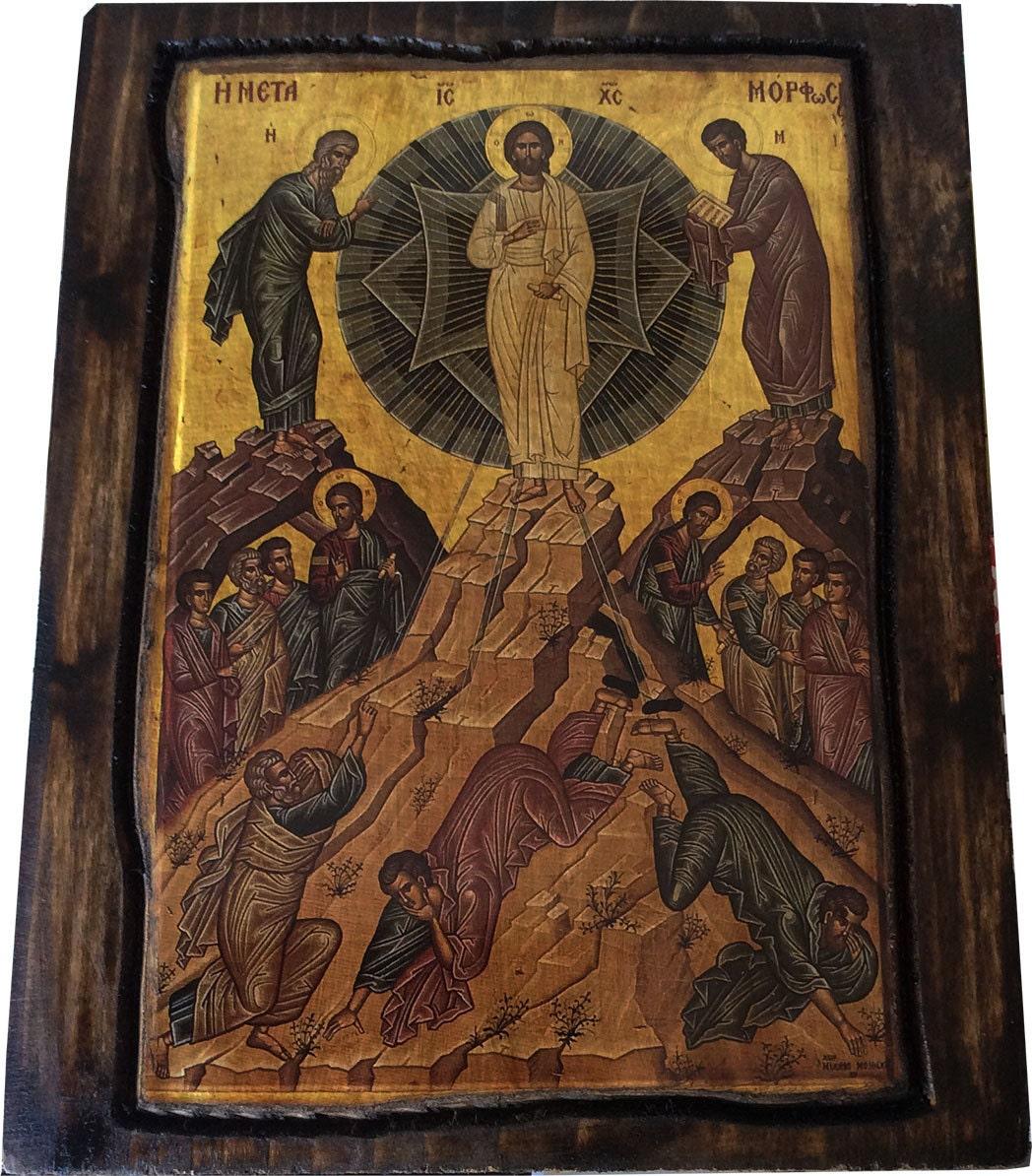 Transfiguration Jesus Christ Orthodox Byzantine icon on