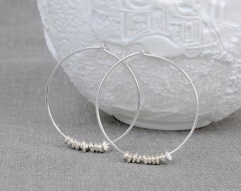 Sterling Silver Large Nugget Hoop Earrings
