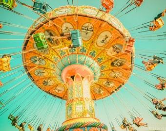 "Nursery Beach Photography - blue and yellow swing ride nursery print 8x10 photo beach boardwalk carnival wall art kids decor ""Fun in the Sun"