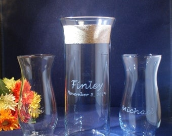 3 Piece Sand Ceremony Set with Flared-Lip 9 x 3 Vase plus 2 Sonora side vases, Cork Lid,  Free personalization