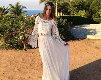 Hippie Inspired Wedding Dresses For Sale BELL SLEEVE hippie boho style