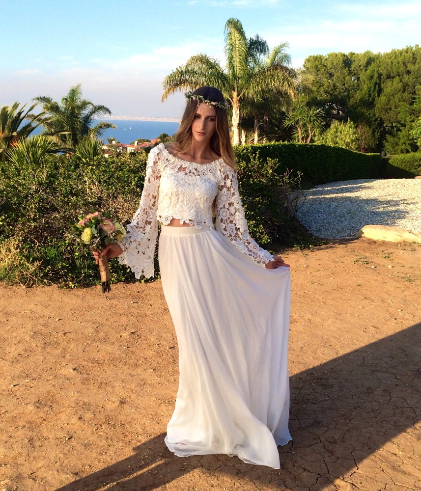 Bohemian Wedding Dress: Alana 2-Piece Lace Silk Chiffon Bohemian Wedding Dress. BELL