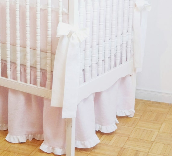 linen crib bedding gathered crib skirt light pink with white ruffle nursery bedding