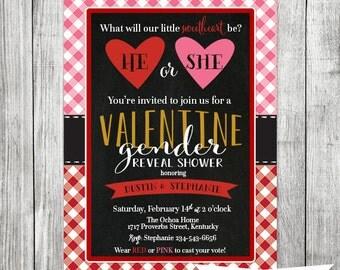 Valentine Gender Reveal Invite - Baby Shower Invite - 5x7 JPG
