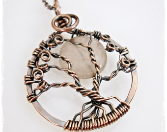 Antiqued Copper Tree of Life Necklace with Malaysia Jade Moon