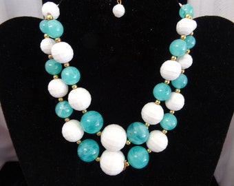 Necklace Teal & White Beaded Necklace Two Tier Coastal Wear