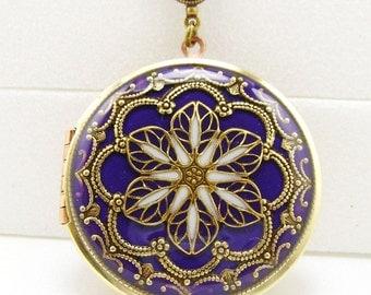 Filigree Locket, Purple Dark Amethyst Filigree Flower Locket, Vintage Locket Photo Locket, Valentine Gift For Her, Wedding Locket