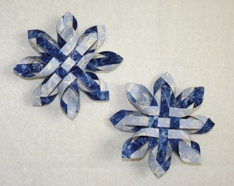 Christmas/Winter Solstice/Winter Wonderland/Holiday Woven and Twisted 3-D Snowflake Ornaments - Two -  by MtnGlen