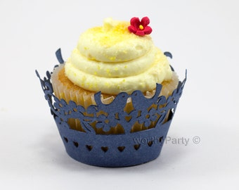 Lovebirds Navy Blue Shimmer Elegant Wedding Laser Cut Lace Cupcake / Muffin  Wrappers - (set of 12)
