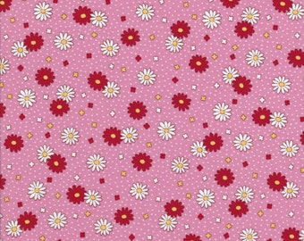 Fat Quarter 'Retro 30's Childs Smile' Pink Floral Coordinate from Lecien, 1930's Reproduction Fabric