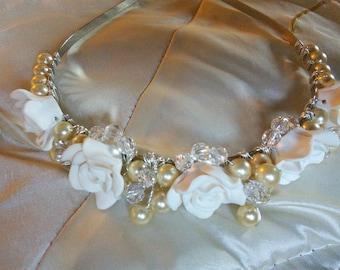Bridal tiara headdress headband