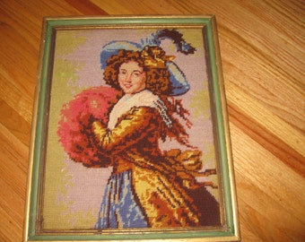 "ANTIQUE NEEDLEPOINT Vigee LeBrun With A Muff, Large Victorian Hat With Feather, Framed 13 1/2"" x 17"""