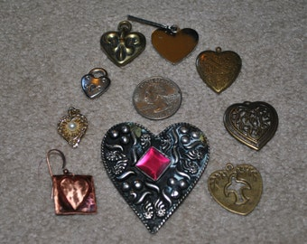 Assorted Heart Charms Lot of 9