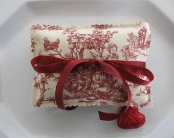 Lavender Sachets Red Toile Organic Lavender Sachets Set of Three Valentine Gift Housewarming Gift