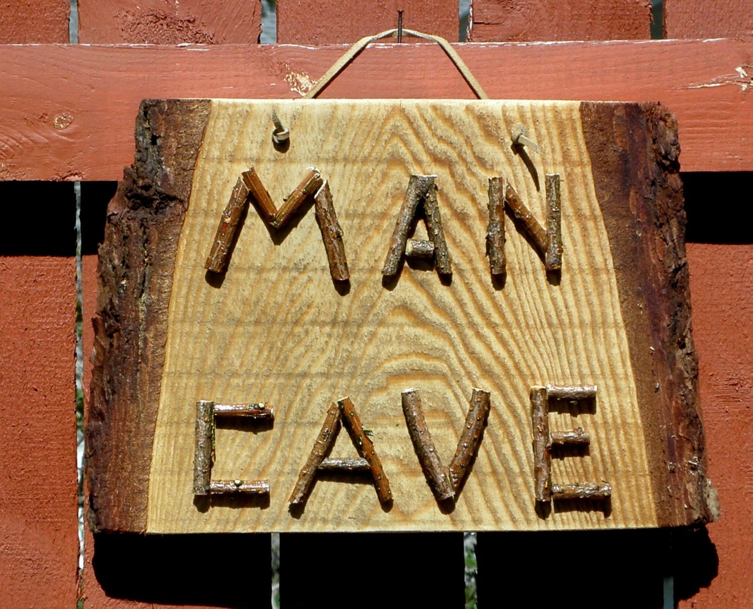 Rustic Man Cave Sign : Man cave sign rustic live edge wood and twig by
