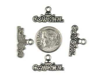 Antique Silver Cowgirl Charms 12 QTY