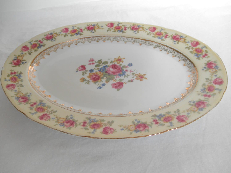 GoldCastle Plate Serving Platter Japan Dinnerware Pink