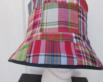 Reversible Bucket Hat - Madras Bucket Hat - Madras Sun Hat - Cloche Sun Hat - Ladies Bucket Hat