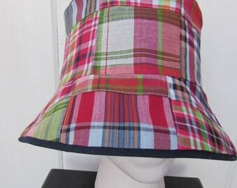 Reversible Bucket Hat - Madras Bucket Hat - Madras Sun Hat - Cloche Sun Hat - Ladies Bucket Hat