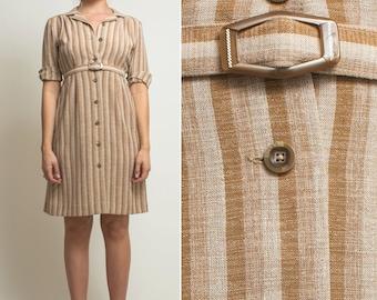 STRIPED dress- Vintage 70s 80s beige tan COLLARED button up SECRETARY midi knee length spring boho 1970s dress