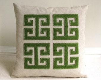 Green Greek Key Pillow with Fern Green Applique on Natural Oatmeal Linen, Classic Modern