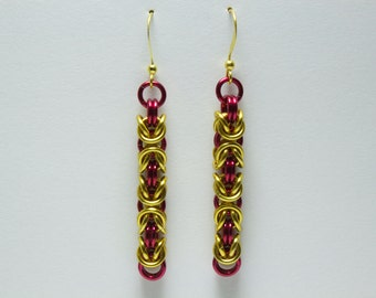 Byzantine Chainmaille Earrings | Hand Crafted Chainmaille Jewelry | Handmade Earrings | Red and Gold | Anodized Aluminum