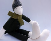 Boy Doll Quirky Modern Eco Toy Softie Up-cycled Dark Green Wool Fabric with Olive Green Tartan Scarf and Knitted Grey Wool Hat UK Ooak