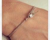 Bracelet Simple 01 Sterling .925 Cotton Handmade - Natural (B401SS-CNT)