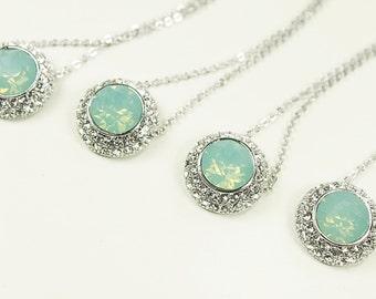 Mint Green Round Shape Opal Stone Necklace. Bridesmaid Necklace Bridesmaid Gift Bridal Necklace Wedding Jewelry Wedding Necklace