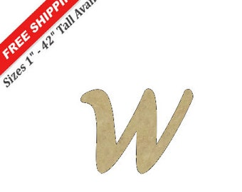 "Unfinished Wooden Lower Case Letter ""w"" in the AKA DORA Font Style"